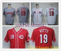 Wholesale Online Cheapest Shorts - NWT Cincinnati Reds 19 Joey Votto Jersey Red White Grey Embroidery Cheap Baseball Jerseys Best Quality Cheapest Online