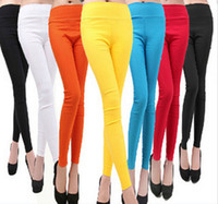 Wholesale Velour Leggings For Women - New 2016 Women's Fashion High Waist Leggings Women Capris Stretch Candy Color Pencil Pants For Women Trousers Pantalones SJM