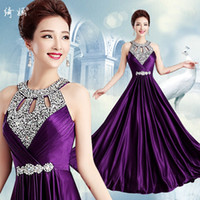 Wholesale Short Purple Plus Size Dresses - New Design Spring Summer Sexy Evening Dresses Crystals Sequins Prom Dresses Lace up Formal Gowns Real Photo Evening Party Dresses Long