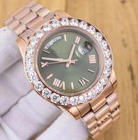 Wholesale Diamond Factory Supplier Watch - Factory Supplier President Day-Date 41mm 18038 big Diamond Bezel Watch 18k Rose Gold Mens Casual Watch Green Dial Automatic Men's Wristwatch