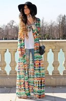 Wholesale Long Multi Colored Dresses - Hot Fashion Women Casual Boho Long Wrap Dress Ombre Paintting Design Colored Celebrity Dress Maxi Beach Dress 2015 835