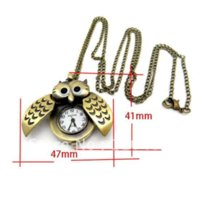 Livraison gratuite / 12 Bronze Tone Hibou Collier Chaîne Quartz Pocket Watch 47x41mm, 84cm long / Fashion Diy Bijoux