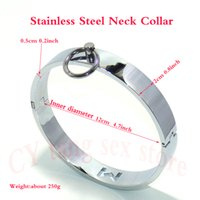 Wholesale Cosplay Bondage - 4.7Inch Stainless Steel Metal Neck Collar Slave Bondage Cosplay Fetish Sex Toys Adult Games
