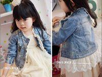 Wholesale Denim Coat Girl - 2015 Brand New Baby Children Girl's Kids Long Sleeve Leisure Jacket Blue 100% Cotton Washed Denim Lace Cowboy coat 5 Pcs Lot