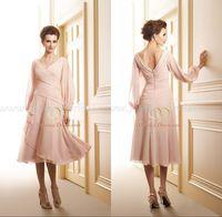Wholesale Dress Blue Grace - Blush Hot 2017 Grace A Line V Neck Pleated with Long Sleeve Tea Length Mother of the bride Groom Plus Size Dresses J145002