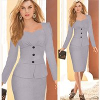 Wholesale Grey Dress Work Office - Wholesale-Womens Dresses 2015 Long Sleeve Bandage Bodycon Pencil Dress White Grey Plus Size Woman Office Dress Work Wear Robe Vestidos