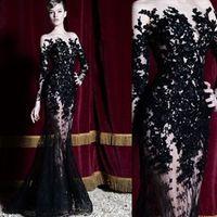 vestido de sirena árabe al por mayor-2019 Zuhair Murad Vestidos de noche Mangas largas Encaje Negro Sirena Vestidos de fiesta Vestidos de fiesta Largas ocasiones especiales Vestidos Árabes Dubai