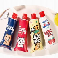 Wholesale Toothpaste Pens - Toothpaste pencil bag PU leather Big Milk bottle pen case with sharpener Kawaii Stationery school supplies