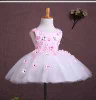 Wholesale Small Pageant Dresses - 25 2014 pink small flowers princess flower girl dresses for weddings girls pageant dresses prom dress children custom made 2015