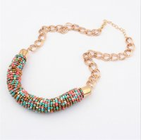 Chain Designer XL368 Classique Bohemia Bead Vintage Or Choker Collar Statement Bib Collier Neon