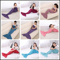 Wholesale Wholesale Crochet Bags - 13 Colors 140*70cm Kids Handmade Knitted Mermaid Blankets Mermaid Tail Blanket Crochet Blanket Throw Bed Wrap Sleeping Bag CCA8355 100pcs