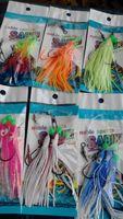 Wholesale Bait Rigging - lure fishing soft squid octopus skirt rigs sabiki 9cm length 3hooks\rig(bag)