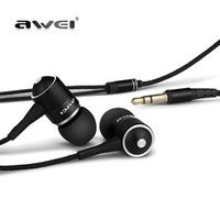 наушники awei оптовых-Wholesale-Original AWEI ES Q3 Noise Isolation Headphone In-ear Style Earphone For  MP3/MP4 Players 3.5mm Jack Headsets With Mic