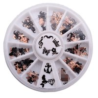 Wholesale Nail Art Stickers Anchor - Wholesale-Mermaid Beard Stars Crown Butterfly Diamond Anchor 3D Metal Christmas Nail Art Decoration Slice Gold Black Stickers Decal NA876
