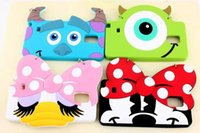 3D Blue Monster Cute Cartoon Case Cover para Apple iPhone 5/6 Case Rubber 5 Series Silicon Mouse Case Para Samsung Note2 / 3/4