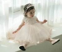 Wholesale white baby yarn - 2016 girls summer dresses children lace sleeveless yarn skirts baby girl s princess dress with big bow kids boutique clothing