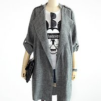 Wholesale Europe Trench - Wholesale-autumn new fashion europe plus size trench coat long sleeve notched loose blazers women solid gray long section cardigan wd1792