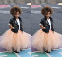 Wholesale Metallic Tulle - Cute Ruched Tulle Little Girls Skirts Floor Length Puffy Tutu Princess Petticoat Infaint Toddler Children Formal Party Dresses Custom Made
