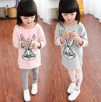 Wholesale Girls Rabbit Leggings - Girls Cute Cartoon Rabbit Printed T-Shirt+Leggings 2 Pieces Kids Clothes Children Clothing Pink Gray 2 Colors