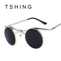 Wholesale Gothic Male - Wholesale-Steampunk Gothic Sunglasses Men Metal Frame Fashion Hip Hop Sun Glasses Vintage Male Female Hipster Eyewear Oculos De sol