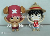 Wholesale-10pcs / lot geben Verschiffen Anime One Piece Luffy Chopper mit 2 verschiedenen Gesichts Drehen Gesicht PVC-Abbildung Spielzeug Keychain Anhänger OPFG260