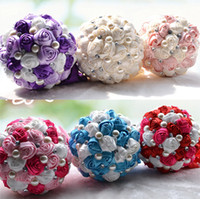 Wholesale Cream Bridal Flowers - 2015 Luxury Bridal Wedding Bouquet Cheap Artificial Cream Fuchsia Blue Bridesmaid Flower Crystal Pearl Silk Rose Wedding Decoration In Stock