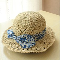 Wholesale Small Brim Summer Hats - Wholesale-Hot 2015 fashion summer small new brand outdoor picture women sunhats fedora floppy beach sun straw hat female