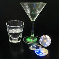 Wholesale Light Up Bar Bottle - Free Shipping 45x3mm Bar Cup LED Flashing Lights Bottle Sticker Party Light Up Wine Mat For Wedding Party Beauty