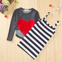 Wholesale Girls Heart Love Dress - spring girls clothes set long sleeve big heart shirt vest striped dress 2 pieces suit Love Heart Girls dress sleeveless certified by CTI-USA