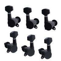 Wholesale Set Guitar Tuner - A Set 3R3L Black Locked String Guitar Tuning Pegs Tuners Machine Heads for Folk Acoustic Electric Guitar MU0800