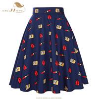Wholesale Dotted Ladies Skirts - Wholesale- 2017 New Fashion Black Skirt Women High Waist Plus Size Floral Print Polka Dot Ladies Summer Skirts 50s Vintage Midi Skirt 20S2