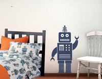 Wholesale Wall Art For Boys - Large size Robot Cartoon Wall Decal Sticker Removable Nursery Vinyl wall art for Boys bedroom decoration