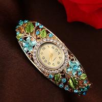 Wholesale flower bangle watches for sale - Colors GENEVA Bangle Watches k Gold Filled Crystal Flower Women Bracelet Dress Quartz Watch For Present Gift
