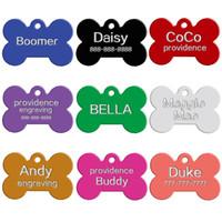kemik şeklinde etiketler toptan satış-100 adet / grup Karışık Renkler Çift Taraf Kemik Şekilli Kişiselleştirilmiş Köpek KIMLIK Etiketleri Özelleştirilmiş Kedi Pet Adı Telefon No. (Gravür Hizmeti sunma)