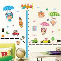 Wholesale Children Height Measurement Sticker - Kid's Child Room Decal Cartoon Cute Parachute Height Scale Measurement Stickers Art Decor Mural Wallpaper DIY Wall Sticke