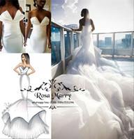 trompetenentwürfe groihandel-Arabisches Design Meerjungfrau Afrikanische Brautkleider Kathedrale Zug 2019 Plus Size Rüschen Tüll Nigeria Trompete Brautkleider Vestido De Noiva