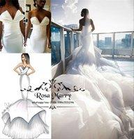 diseños de vestidos árabes al por mayor-Diseño árabe Sirena Vestidos de novia africanos Tren de la catedral 2019 Tallas grandes volantes Tulle Nigeria Vestidos de novia Vestido de Noiva