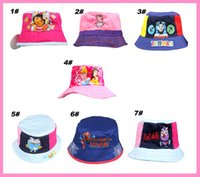 Wholesale Colorful Bucket Hats - 2014 new arrivel kids fisherman hat Cute Cartoon Kids Caps Lovely Sun Hat Colorful Baby Bucket Hats Canvas Children Beanie 7 Designs