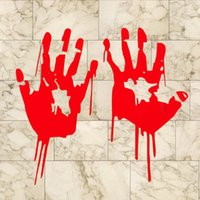 Wholesale 2X Red Bloody Blood Vampire Hand Print Vinyl Car Window Decal Zombie Horror Dead Funny Durable Sticker