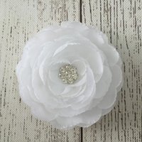 Wholesale Swarovski Wholesale Hair - New Arrival Rosette Swarovski Crystal Center Silk Ranunculus Flowers Sparkle Accessories Hair Clippers 30pcs lot Hot Selling