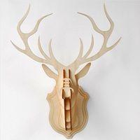 Wholesale Wooden Animals Heads - Wholesale- QITAI Wooden Veneer Shape Vintage Wood Birdcage Embellishment Craft Products Wooden deer Head DIY fornasetti WF106