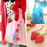 Wholesale Nylon Fabric Roll - Hot Eco Storage Handbag Strawberry Foldable Shopping Bags Reusable Folding Grocery Nylon Large Bag 8 colors