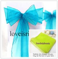 "Wholesale Wedding Chair Sashes Aqua - Free shipping-Wholesale-25pcs Aqua Blue 8"" (20cm) W x 108"" (275cm) L Sheer Organza Sashes Wedding Party Banquet Chair Organza Sash Bow"
