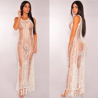European Dress Hand Crochet Hook Knitting Tassels Hollow Out Bikini Sandy Beach Color