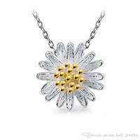 blumenartikel großhandel-925 Sterling Silber Artikel Aussage Halskette Schmuck Charms Anhänger Vintage ethnischen goldenen Silber Sonnenblume Gänseblümchen Blume
