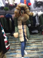 Wholesale Double Zipper Coat - real fox fur coat wilth large fox fur hat with real lining real parka fur