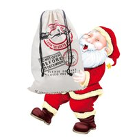 Wholesale Medium White Gift Bags - Christmas Presents Bag Cotton Canvas Storage Reindeer Drawstring Bag For Packing Kid's Gift With Size 300L-White Red