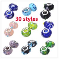 Wholesale Charms Murano White Style Pandora - 30 Styles Big Hole Lampwork Murano Glass Beads Charms Loose Beads For Pandora Bracele & Necklace DIY Jewelry Findings Components Supplies