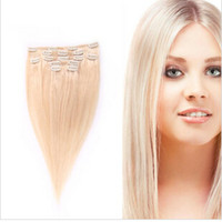 Wholesale Lightest Blonde Brazilian Clip In Hair Extensions Straight Remy Human Hair