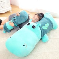 Wholesale Stuffed Hippo Animal Dolls - Hot Cute Plush toy stuffed animal hippo doll cloth sleeping pillow Ragdoll birthday gift for child stuffed toys